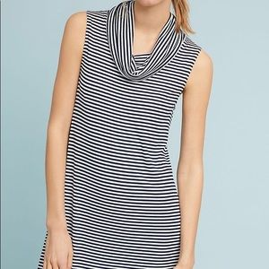 Anthropologie Cowl Neck Striped Tunic Dress